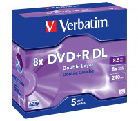 Двухслойные VERBATIM DVD+R 8.5GB DL 8x JC (43541)